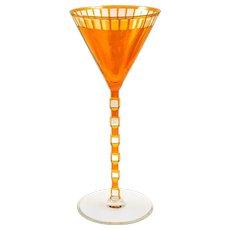 Otto Prutscher coloured cut wine glass orange model nr. I/198 Meyr's Neffe ca. 1907