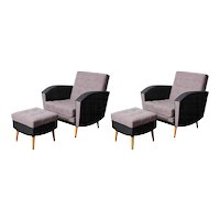 Pair of 1960's  armchairs and ottomans