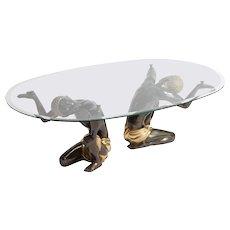 1980s Bronze Low Coffee Table