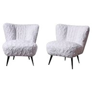 Pair of Cocktail Chairs in Faux Fur