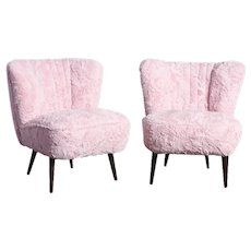 Pair of Cocktail Chairs Faux Fur