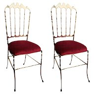 Pair Italian polished brass Chiavari chairs