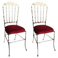 Pair Italian polished brass Chiavari chairs