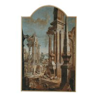A Pair of  18th Century  Italian Tempera on Canvas Capriccios with Classical Ruins