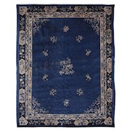Early 20th C. Indigo Blue Peking Rug