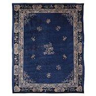 Early 20th C. Indigo Blue Peking Rug