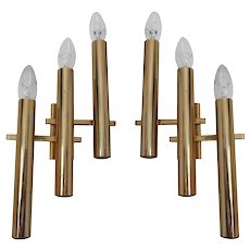 Pair of gilted chromed sconces by Gaetano Sciolari 1970s