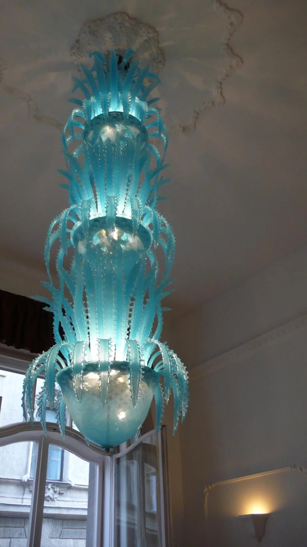 Imposing waterfall handblown glass chandelier by murano for Margutta 19 luxury hotel 00187 roma rm italy