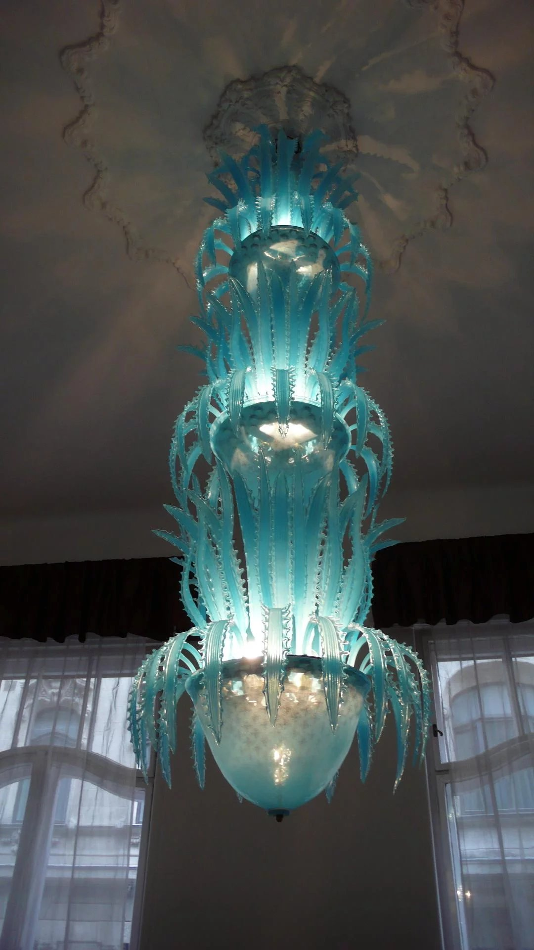 Imposing Waterfall Handblown Glass Chandelier by Murano ...
