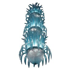 Imposing Waterfall Handblown Glass Chandelier by Murano