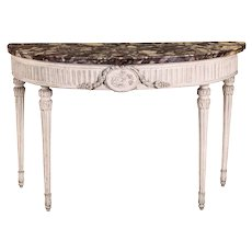 Italian Demilune Carved and Ivory Painted Console Table