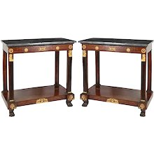 A Pair of French Empire Gilt-Bronze Mounted Console Tables