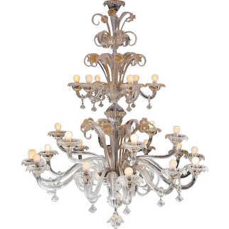 Pair of Murano Chandeliers by Barovier & Toso, 1950s