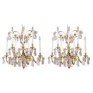 A Pair of French Gilt-Bronze Seven-Branch Wall Lights with Rock Crystal Drops