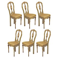 A Fine Set of 8 Italian Painted & Parcel-gilt 18'C. Chairs
