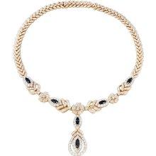 Gorgeous Sapphire Diamond Gold Necklace