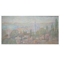 """Stan Reszka Oil Paint on Canvas """"A View over Istanbul"""", 1951"""