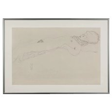 Photoengraving Reclining Nude by Gustav Klimt