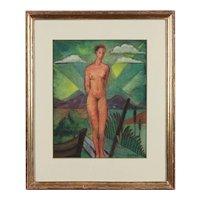 """Karl Godeg Tempera Painting """"Nude at the Lake"""""""