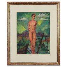 "Tempera Painting ""Nude at the Lake"""