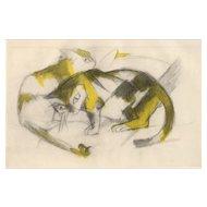 """Two Cats"" ( Zwei Katzen ) by Franz Marc"