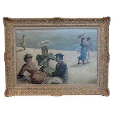"""""""Á la plage"""" ( """"On the Beach"""" ), Oil on Canvas"""
