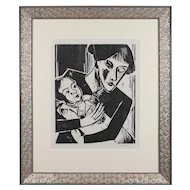 """Woodcut """"Einäugige Mutter"""" ( """"One-Eyed Mother"""" ) by Hermann Max Pechstein"""