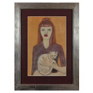 """Mädchen mit Katze""  ( Girl with a Cat ) Gouache on Paper by Werner Reifarth"