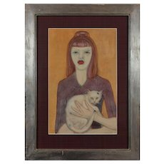 """Mädchen mit Katze""  ( Girl with a Cat ) Gouache on Paper by Werner Reifarth"