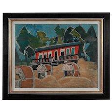 "Friedrich Karl Gotsch ""Rotes Haus am Strand"" ( Red House on the Beach )"