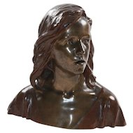 """Art Nouveau Bronze """"Bust of Young Jesus"""""""