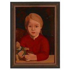 """1920s Portrait """"Child With Doll"""" by Kurt Schuetze"""