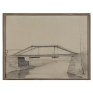 """Hölzerne Hängebrücke über einen Fluss"" ( Plank Bridge Across The River ) by Franz Lenk"