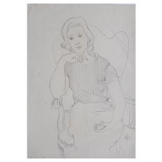 """""""Young Woman Seated in an Armchair"""" Drawing by August Wilhelm Dressler"""
