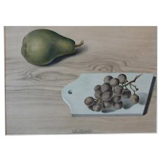 """Josef Mangold Watercolor """"Still Life with Grape and Pear"""", ca. 1925"""