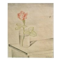 "Josef Mangold Color Pencil ""Rose im Wasserglas"" ca. 1928"