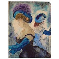 "Watercolor Gouache Painting ""Damen in Ballroben"", 1947 by Erhard Klepper"