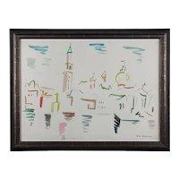 """Watercolor """"San Marco - Venezia"""" by Helene de Beauvoir, 1960"""