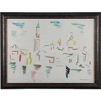 "Watercolor ""San Marco - Venezia"" by Helene de Beauvoir, 1960"