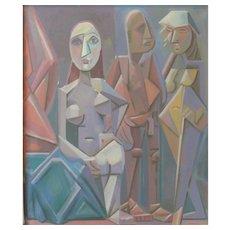 "Oil Paint on Canvas ""Obskure Gesellschaft"" by Werner Reifarth"