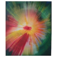 "Udo Haderlein Acrylic Paint on Canvas ""Cosmic Birth of a Flower"""