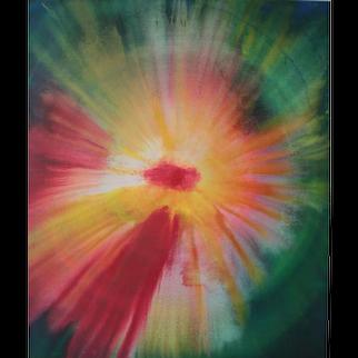 "Udo Haderlein Acrylic Paint on Canvas ""Cosmic Birth of a Flower"""
