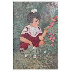 """Oil Painting """"A Little Girl with Flowers in a Garden"""", 1952"""