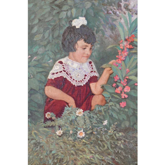 "Oil Painting ""A Little Girl with Flowers in a Garden"", 1952"