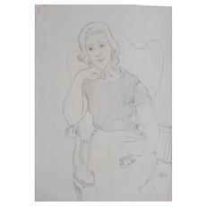 """Drawing """"Young Woman Seated in an Armchair"""", 1933"""
