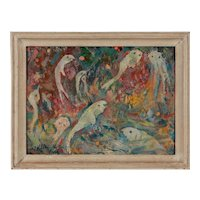 "Walter Wellenstein Oil Painting ""Weisse Fische"" ( White Fishes )"