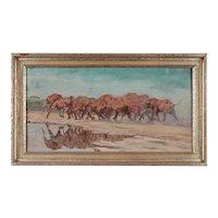 "Oil Painting ""Elefantenherde"" ( Elephant Flock ) by Rudolf Schulz-Borek"