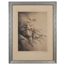 "Art Deco Etching ""Zest"" by Louis Icart"