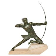 "Impressive French Art Deco Sculpture ""Spartiate"" (""An Archer"") by Max Le Verrier"