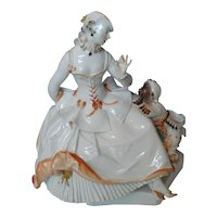 Meissen Porcelain Figurine Rococo Lady with a Moor, by Paul Scheurich